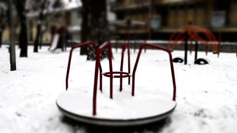 Snowy Suburb 28 playground stylized scary Stock Video Footage