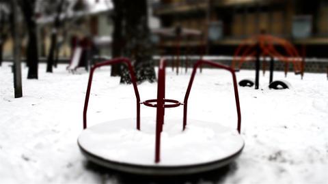 Snowy Suburb 28 playground stylized scary Footage