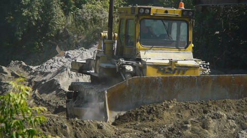 Big bulldozer at the building site Stock Video Footage