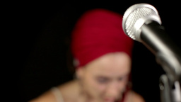 Beautiful Singer Microphone stock footage