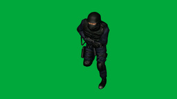 S.W.A.T. (SWAT) Man Running : (Looping + Matte) stock footage
