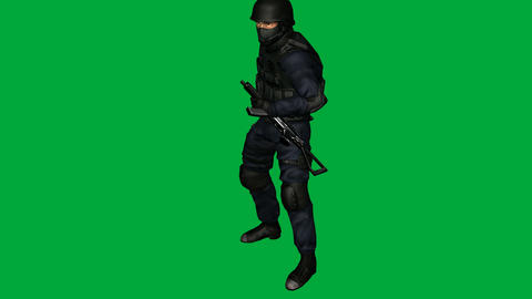 S.W.A.T. (SWAT) Man, Shoot and Load: (Looping + Matte) Animation