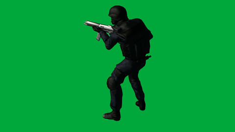 S.W.A.T. (SWAT) Man in Idle Side Pose: (Looping + Matte) Animation