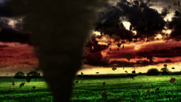 Stormy day with thunder. Tornado passes near the camera Animation