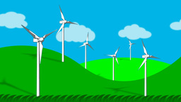 Wind turbines generating electricity. Eco power Animation