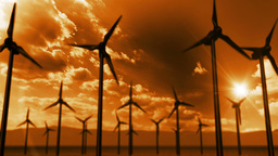 Wind turbines generating electricity. Eco power Animation