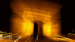 arc du triomphe at night, paris france Footage