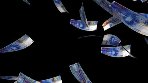 Falling Swiss Francs (Loop + Matte) stock footage