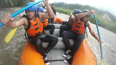 Whitewater rafting boat adventure Footage
