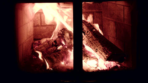 Close Up Old Vintage Fire Wood Burning Fireplace stock footage