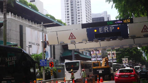 Electronic Road Pricing (ERP) on Singapore road Live Action