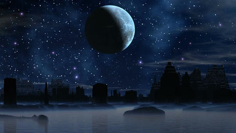 The moon and the ruins of an alien city Animation