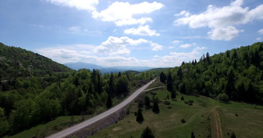 4K aerial mountain road Footage