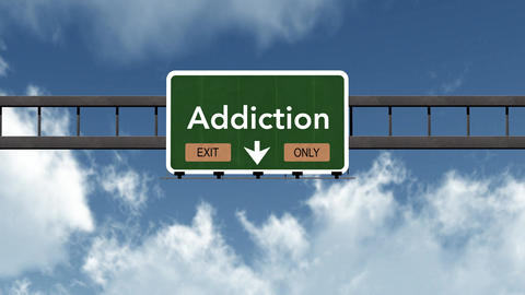 4K Passing Addiction Exit Only Highway Sign With Matte 2 Stylized stock footage