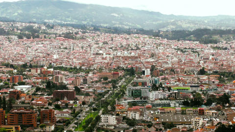 Zoom in over historic center of Cuenca Footage