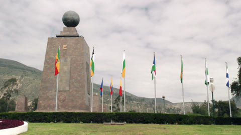 Center of the world monument with flags Footage