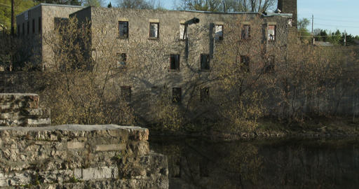 Ruins of old bridge and factory in Elora, Canada Footage