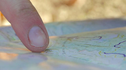 Young Adult Man Pointing On The Map stock footage