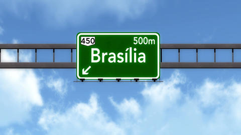 4K Passing Brasilia Brazil Highway Road Sign with Matte 2 stylized Animation