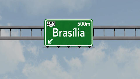 4K Passing Brasilia Brazil Highway Road Sign with Matte 1 neutral Animation