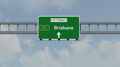 4K Passing Brisbane Australia Highway Road Sign with Matte 1 neutral Animation