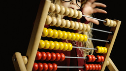 Abacus play count little girl clever Footage
