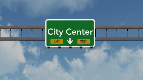 4K Passing City Center Exit Only Highway Sign with Matte 1 neutral Animation