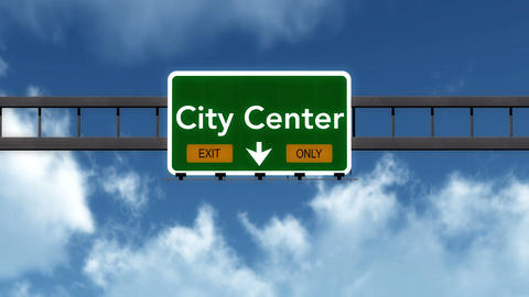 4K Passing City Center Exit Only Highway Sign with Matte 2 stylized Animation