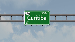 4K Passing Curitiba Brazil Highway Road Sign with Matte 1 neutral Animation