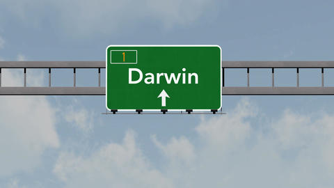 4K Passing Darwin Australia Highway Road Sign with Matte 1 neutral Animation