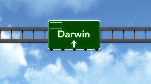 4K Passing Darwin Australia Highway Road Sign with Matte 2 stylized Animation