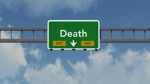 4K Passing Death Exit Only Highway Sign with Matte 1 neutral Animation