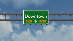 4K Passing Downtown Exit Only Highway Sign with Matte 1 neutral Animation
