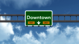 4K Passing Downtown Exit Only Highway Sign with Matte 2 stylized Animation