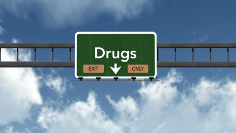 4K Passing Drugs Exit Only Highway Sign With Matte 2 Stylized stock footage