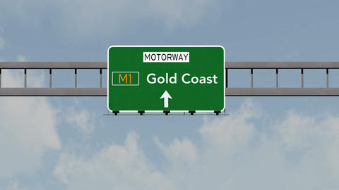 4K Passing Gold Coast Australia Highway Road Sign with Matte 1 neutral Animation