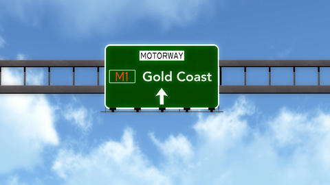 4K Passing Gold Coast Australia Highway Road Sign with Matte 2 stylized Animation