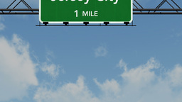 4 K Passing Jersey City Interstate Highway Sign with Matte 1 neutral Footage