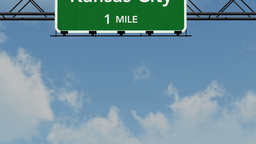 4 K Passing Kansas City Interstate Highway Sign with Matte 1 neutral Footage