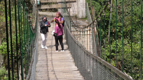 Tourists on suspended bridge Footage
