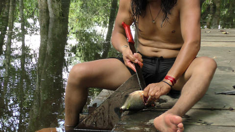 Indigenous man cleaning fish Footage