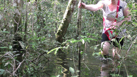European Tourist In Amazon Jungle stock footage