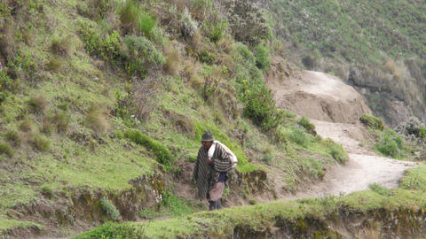 Old Quechua Peasant In Ecuadorian Highlands Footage