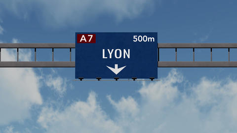 4K Passing Lyon France Highway Sign with Matte 1 neutral Animation