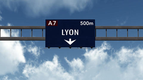 4K Passing Lyon France Highway Sign with Matte 2 stylized Animation