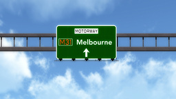 4K Passing Melbourne Australia Highway Road Sign with Matte 2 stylized Animation