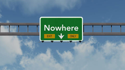 4K Passing Nowhere Exit Only Highway Sign with Matte 1 neutral Animation