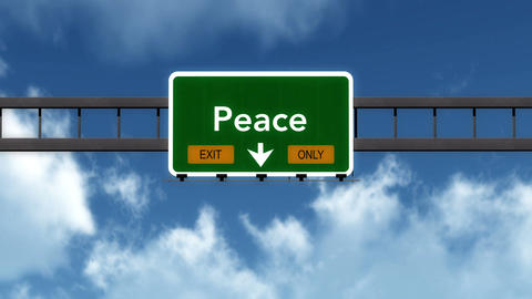 4K Passing Peace Exit Only Highway Sign with Matte 2 stylized Animation