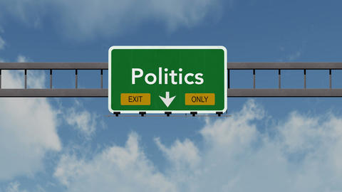 4K Passing Politics Exit Only Highway Sign with Matte 1 neutral Animation