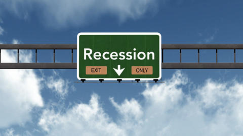 4K Passing Recession Exit Only Highway Sign with Matte 2 stylized Animation